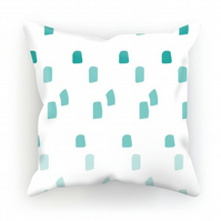 Canvas cushion – Teal ombre dots