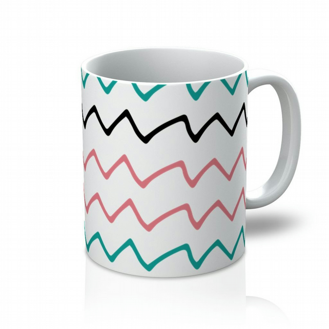 Teal, Pink And Black Zigzags Mug