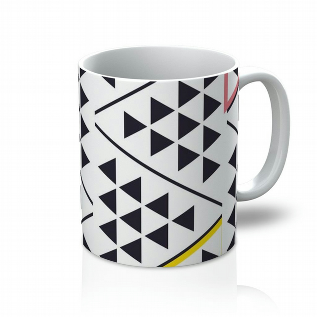 Yellow, Pink And Black Geometric Triangles Mug