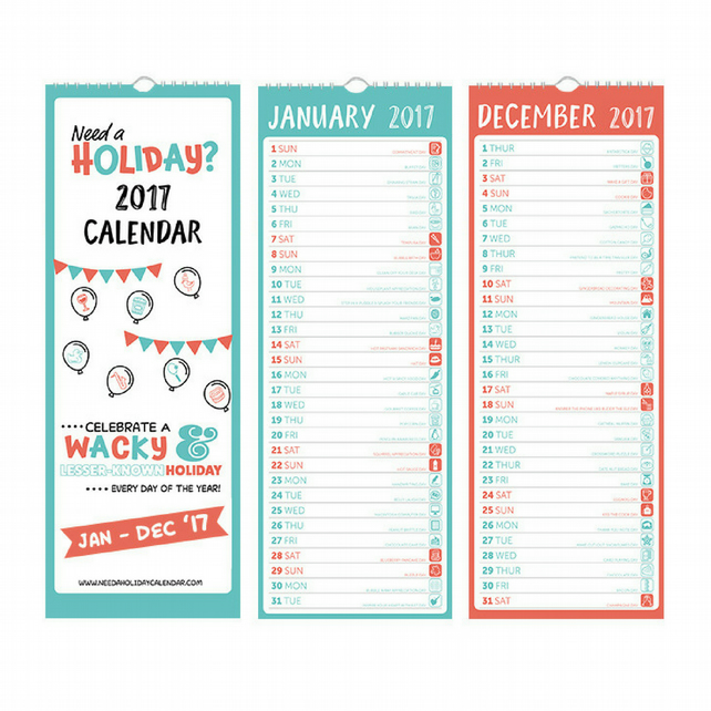 ON SALE! 2017 calendar – 365 wacky & lesser known holidays!