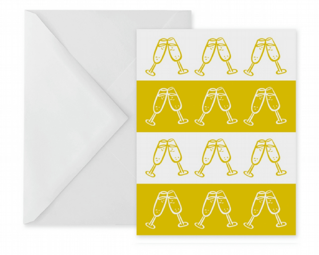 Yellow Champagne Stripes Greetings Card