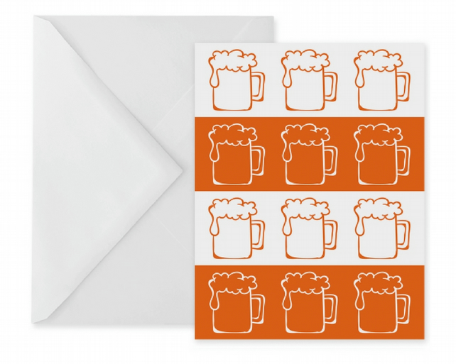 Orange Beer Stripes Greetings Card