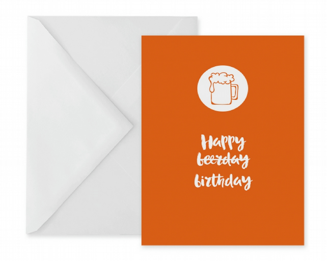 Orange Beerday Birthday Card