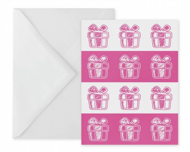 Pink Presents Birthday Card