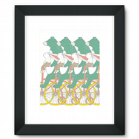 Bear And Bunny Bike Ride Framed Print