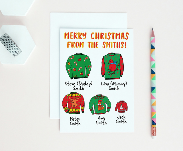 Personalised Family Christmas card