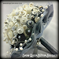 Silver and White Button Bouquet