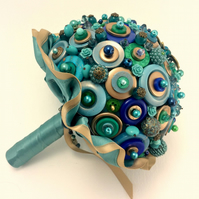 Peacock Nouveau Button Bouquet