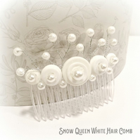 White Bridal Beaded Hair Comb