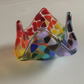 Rainbow fused glass tealight holder candle holder