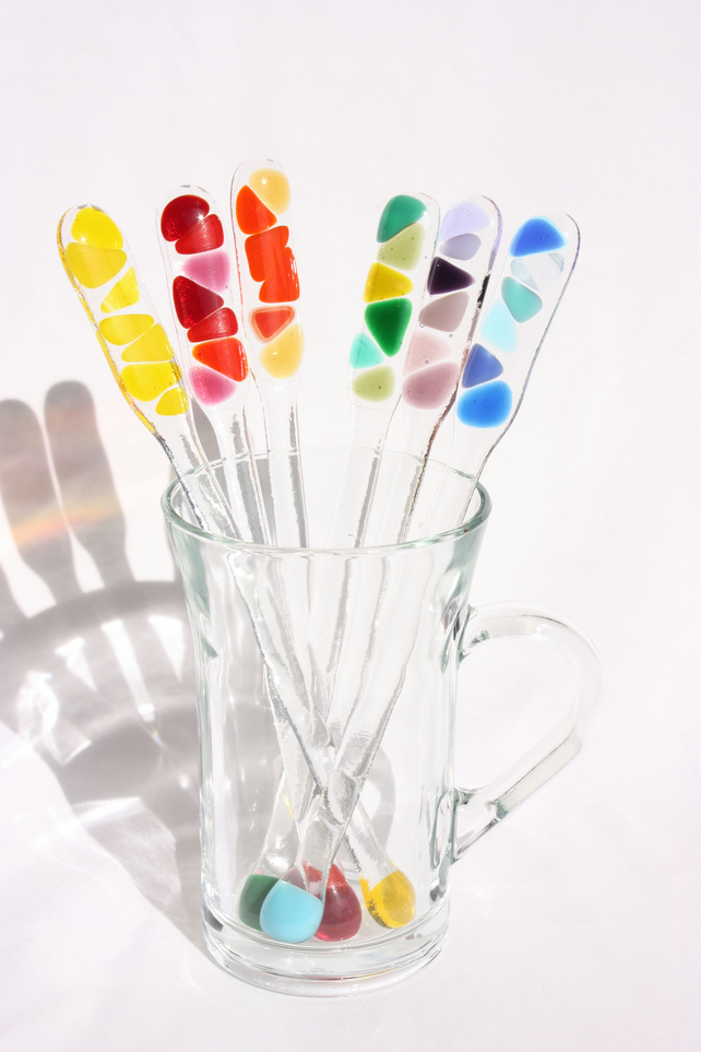Set of six rainbow fused glass swizzle sticks