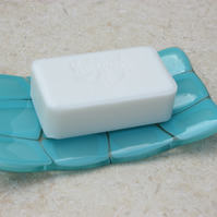 Turquoise fused glass soap dish, tortoise shell design soapdish