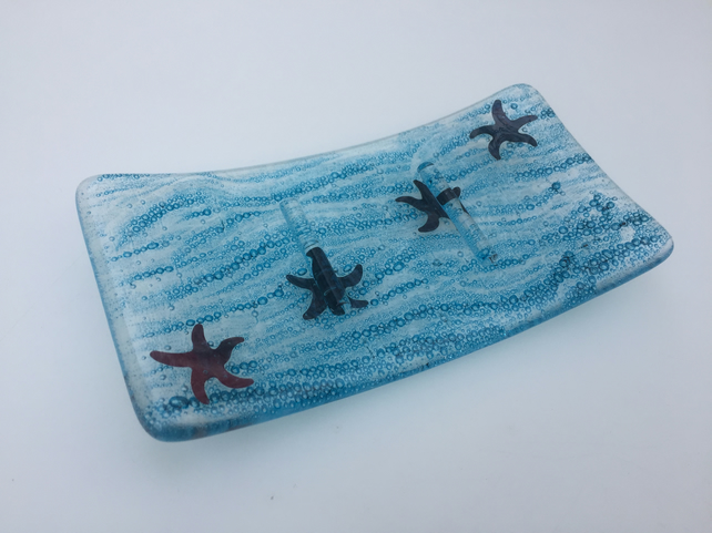 Blue seaside soap dish, glass soap dish with starfish design, starfish soap hold