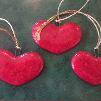 Red heart tree decorations, glass Christmas tree ornaments, glass hearts