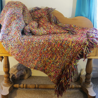 Afghan Blanket - each stitch made with multiple natural wool threads and colours