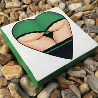 Green Bum Heart - Hand painted reclaimed pallet wood art