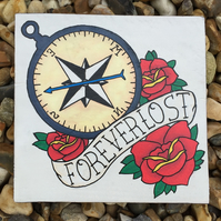 Forever Lost - Traditional style tattoo hand painted reclaimed pallet wood art