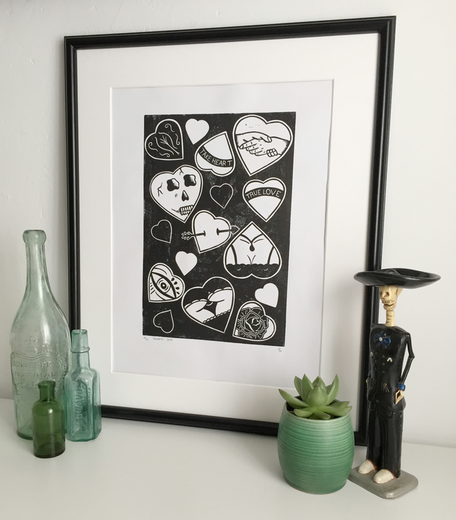 Hearts, art print, A3, Lino Print, linocut, rose, skull, tattoo art