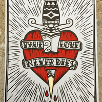 True Love Never Dies Linocut print with 24ct gold leaf