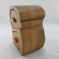 "Oak Bandsaw Wooden Jewellery Trinket Box Double ""S"""