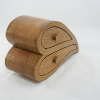 Oak Double Heart Wooden Bandsaw Jewellery Trinket Box