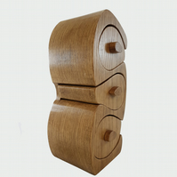 "Oak Bandsaw Wooden Jewellery Trinket Box Triple ""S"" Shape."