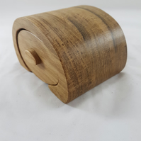 Oak Bandsaw Wooden Jewellery Trinket Box Bun Shape.