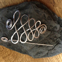 Silver celtic tree shawl pin, brooch for scarves and chunky knits