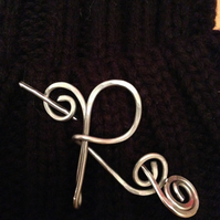 Initial pin brooch or scarf pin, personalised gift for her, great on chunky knit