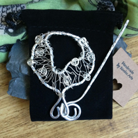 Beautiful sheep brooch or shawl pin, silver wire wrapped jewellery
