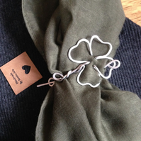 Lucky clover brooch pin for chunky knits, good luck token gift