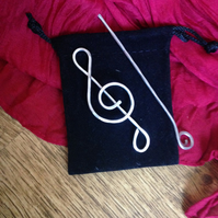 Music jewellery treble clef brooch or shawl pin, gift for music lover