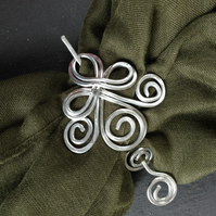 Celtic Shawl or Hair Pin in Silver Aluminium, Women's Winter Fashion Accessory