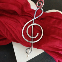 Music jewelry treble clef brooch or shawl pin, gift for music lover
