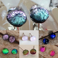 Sparkly dichroic glass earrings, gift for her, stocking filler