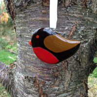 Robin redbreast glass hanging ornament, stocking filler, Christmas decoration