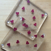 Fused Glass Coasters, Hearts and Sparkle