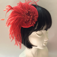 Ruby Red Burlesque Fascinator Vintage Flapper Chic with Feathers