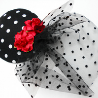 Rockabilly Black and White Polka Dot Fascinator with Veil Retro Chic