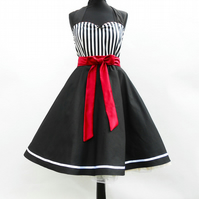Bespoke Black and White Striped Dress 50s Rockabilly Sailor Style with Red Bow