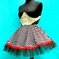 Small Lolita Sailor Mini Skirt Black and White Striped Tutu with Red Trim