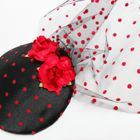 Black and Red Polka Dot Fascinator Burlesque Chic with Veil
