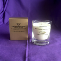 White Musk & Amber Fragrance Glass Candle