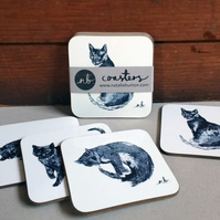 Cat Coasters - Set of 4