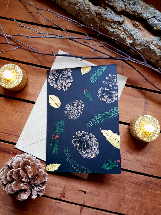 Winter Botanical Christmas Card - Blue Grey