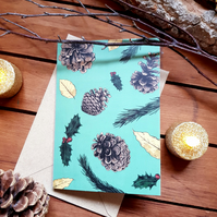 Winter Botanical Christmas Card - Mint Green