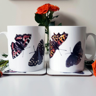 Butterfly Bone China Mug - Illustrated Coffee Mug