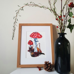 A4 Mushroom Illustration - Woodland Toadstool Wall Art