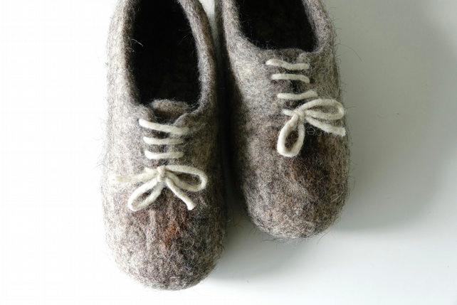 Natural women's grey wool handmade felted felt slippers, house shoes, clogs