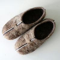 ECO grey wool handmade felted felt slippers, house shoes, clogs